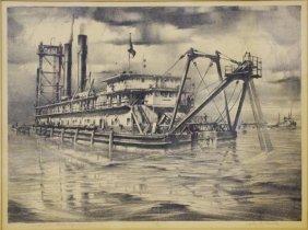 Noble, John A. (Am., 1913-1983). Dredge. Lithograp