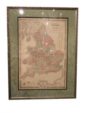 Johnson And Ward Atlas ENGLAND AND WALES Map, Circ