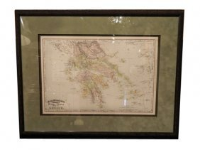 1894 GREECE, Antique Rand McNally Map
