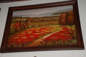 Large Oil On Canvas, Floral Country Scene, Signed,