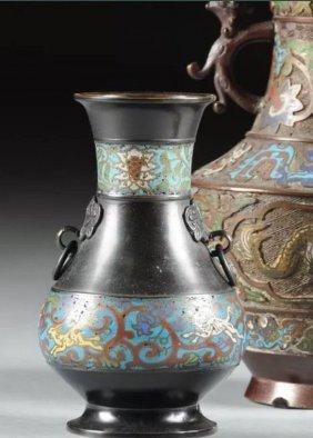 Group Of Three Japanese Enameled Bronze Vases