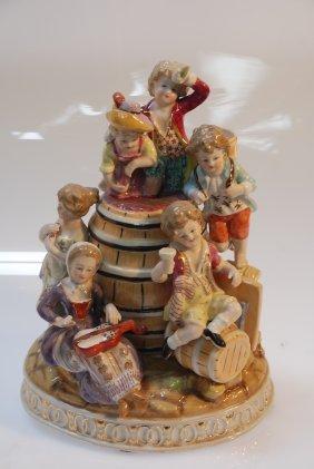 German Porcelain Sculpture Of Cute Children Playing