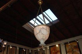 Unique Art Deco Alabaster Chandelier