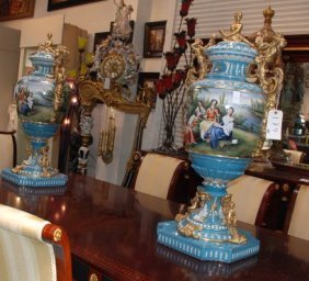 Beautiful Pair Large Porcelain Urns In Vibrant Color