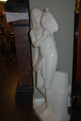 Tall White Marble Statue Of Woman With Grapes