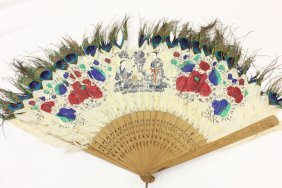 19th Century Painted Peacock Feather Fan
