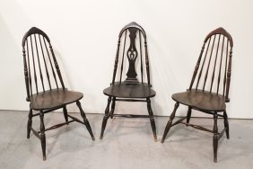3 Victorian Mahogany Spindle Back Chairs