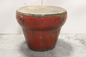 Large Chinese Red Painted Drum