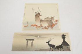 2 Japanese Woodblock Prints By Koson Ohara