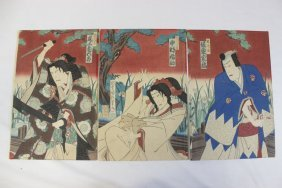 Japanese Woodblock Print, Triptych