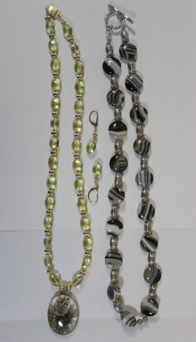 An Onyx Necklace & A Quartz Necklace W/ Earrings