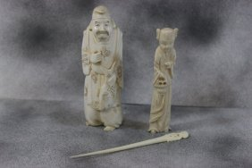 3pc Vintage Ivory Carvings