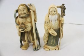 2 Japanese Antique Ivory Carved Okimono