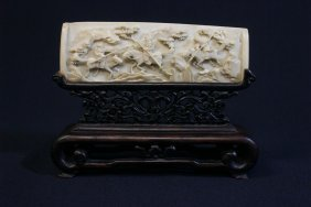 Chinese 19th C. Ivory Plaque On Rosewood Stand