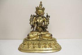 Large Vintage Sino Tibetan Gilt Bronze Buddha