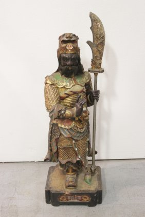 Chinese Antique Polychrome Wood Figure