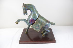 Chinese Vintage Cloisonne Horse With Stand