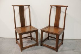 Pr Chinese 18th/19th C. Solid Huanghuali Chairs