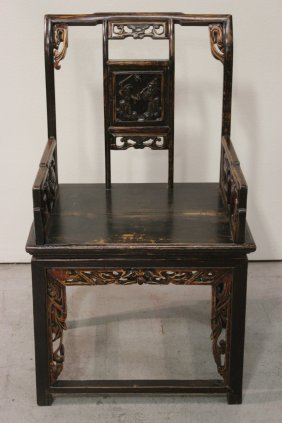 Chinese 19th C. Carved And Painted Armchair
