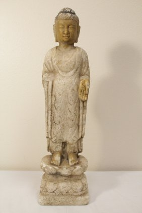 Chinese Marble Carved Statue Of Buddha