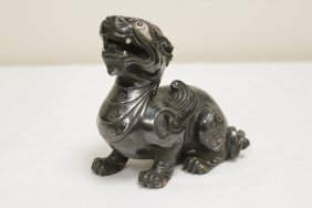 Chinese Bronze Sculpture With Silver Like Inlaid