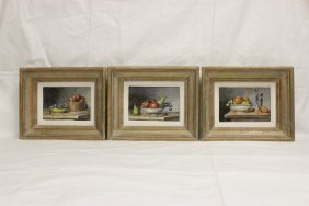 3 French Miniature Oil On Board Paintings