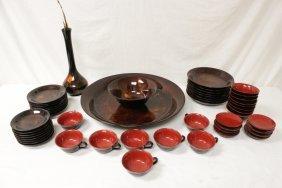 A Rare Large Japanese Lacquer Dessert Set