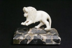 Ivory Carved Lion On Marble Base