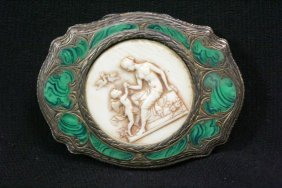 Silver Compact Decorated With Ivory And Malachite