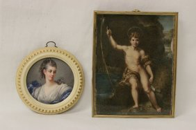 2 Antique European Miniature Ivory Paintings