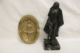 Bronze Tray, And A Bronze Sculpture Of Nude
