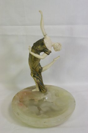 French Bronze & Ivory Sculpture By George Omerth