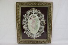Painted Persian Ivory Plaque Depicting Lovers