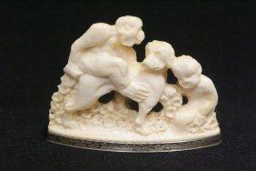 European Ivory Carving Depicting Monkey On Dog