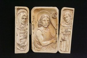 Italian Antique Ivory Carved 3-panel Ornament