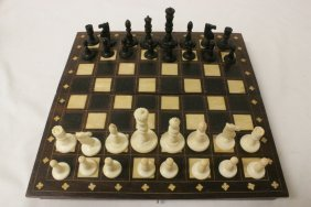 Ivory Chess Set With Ivory Inlaid Board/ Box