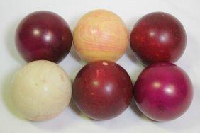 6 Antique Ivory Carved Balls