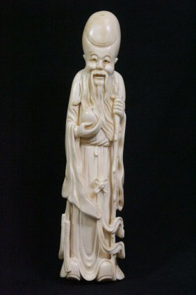 Large Chinese Ivory Carved God Of Longevity