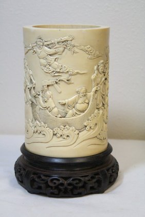 Important Chinese Antique Ivory Carved Brush Holder