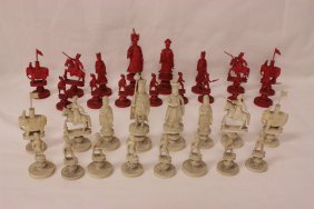 Chinese Antique Canton Ivory Carved Chess Set