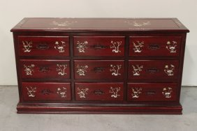 Chinese Rosewood Chest Of Drawers W/ Mop Inlaid