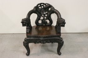 Chinese Antique Rosewood Carved Armchair