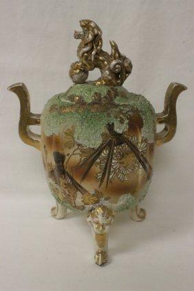 Japanese Antique Kutani Covered Footed Jar
