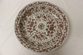 Large Chinese Red And White Porcelain Platter