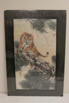 Korean Watercolor Depicting Tiger