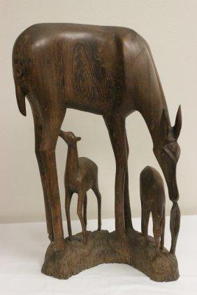 Large Wood Carved Deer Group