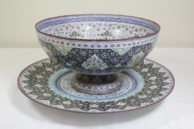 Persian Enamel On Copper Bowl With Under Plate