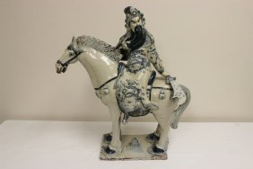 Chinese Blue And White Porcelain Sculpture