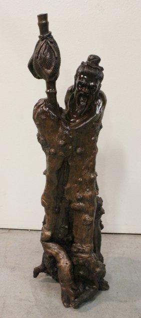 Large Wood Carving Depicting God Of Longevity