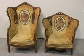 Pair Victorian Finely Carved Armchairs